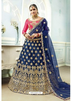 Navy And Rani Satin Embroidered Designer Lehenga Choli