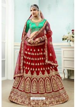 Maroon And Green Satin Embroidered Designer Lehenga Choli