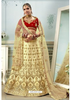 Beige And Red Satin Embroidered Designer Lehenga Choli