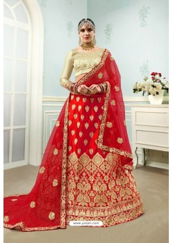 Red Satin Embroidered Designer Lehenga Choli