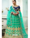 Jade Green And Navy Satin Embroidered Designer Lehenga Choli
