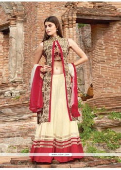 Deserving Embroidered Work Cream Designer Palazzo Salwar Suit