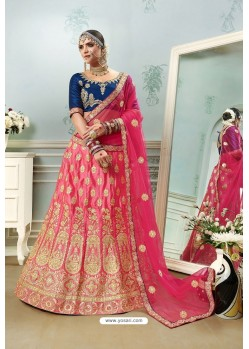 Hot Pink And Navy Satin Embroidered Designer Lehenga Choli