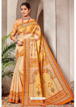 Cream Silk Printed Saree