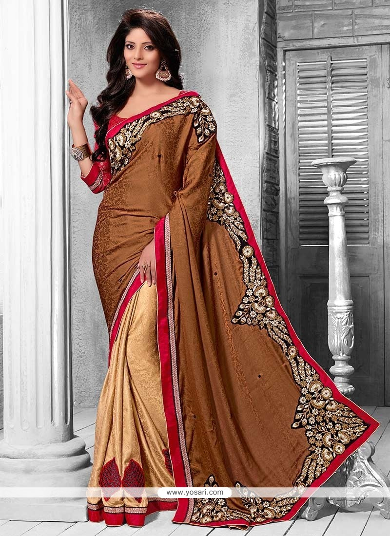 Fab Beige And Brown Shaded Crepe Half And Half Saree