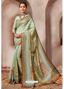 Sea Green Silk Printed Saree