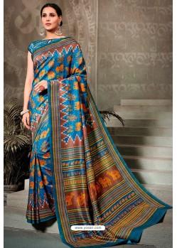Teal Blue Printed Silk Saree