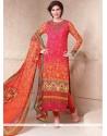 Energetic Hot Pink And Orange Churidar Designer Suit