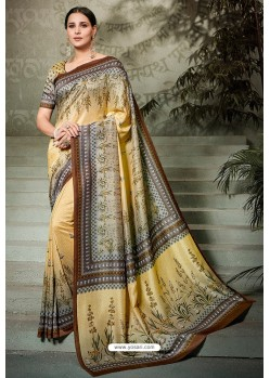 Beige Printed Silk Saree
