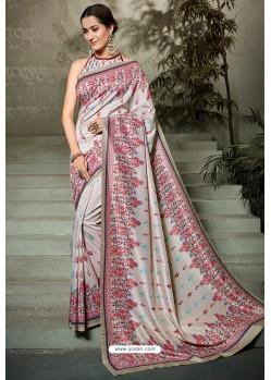 Light Grey Printed Silk Saree