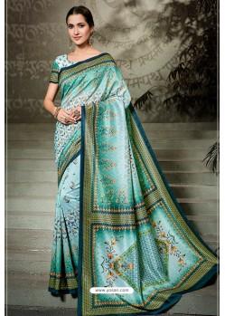 Sky Blue Printed Silk Saree