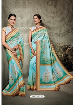 Sky Blue And Mint Printed Silk Saree