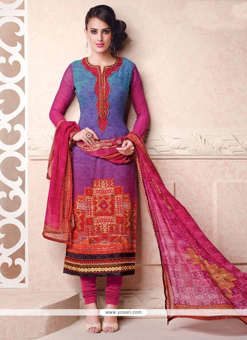Modern Georgette Blue Lace Work Churidar Salwar Kameez