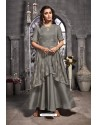 Grey Tussar Satin Embroidered Work Party Wear Gown Suit