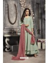 Olive Green Linen Silk Embroidered Work Party Wear Gown Suit