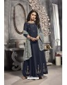 Navy Blue Viscose Embroidered Work Party Wear Gown Suit