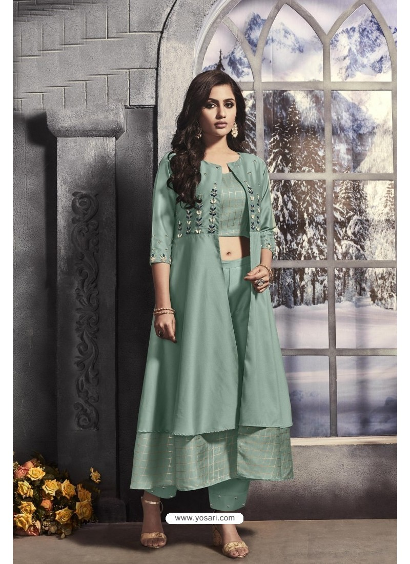 Grayish Green Satin Foil Embroidered Work Party Wear Gown Suit
