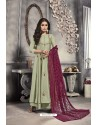 Olive Green Satin Embroidered Work Party Wear Gown Suit