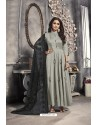 Grey Satin Embroidered Work Party Wear Gown Suit