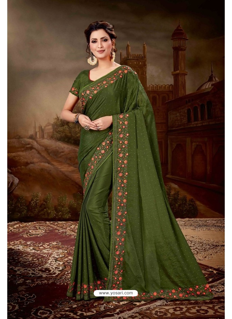 Dark Green Crepe Chiffon Heavy Embroidered Party Wear Saree