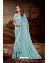 Sky Blue Crepe Chiffon Heavy Embroidered Party Wear Saree