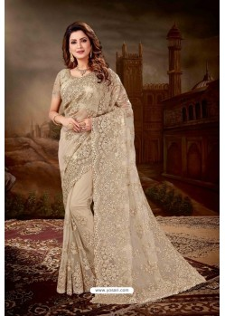 Taupe Net Heavy Embroidered Party Wear Saree
