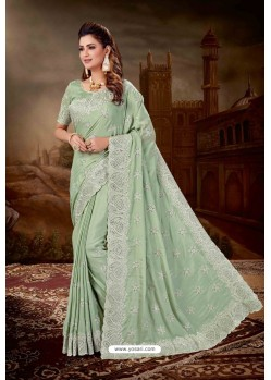 Sea Green Chiffon Silk Heavy Embroidered Party Wear Saree