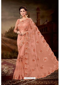 Peach Net Heavy Embroidered Party Wear Saree