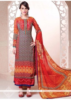Magnetic Multi Colour Resham Work Georgette Churidar Salwar Kameez