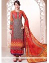 Magnetic Multi Colour Resham Work Georgette Churidar Salwar Kameez