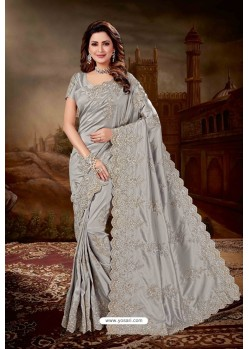 Silver Silk Heavy Embroidered Party Wear Saree