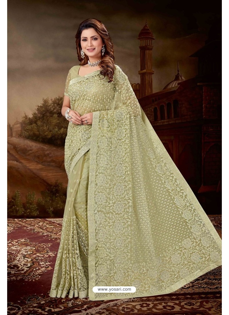 Olive Green Net Heavy Embroidered Party Wear Saree