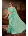 Jade Green Net Heavy Embroidered Party Wear Saree