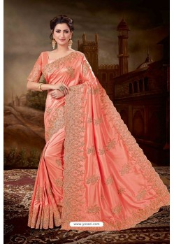 Light Red Silk Heavy Embroidered Party Wear Saree