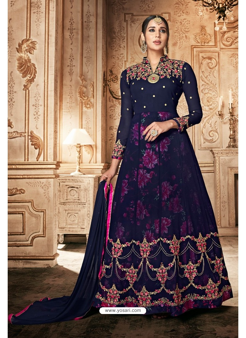 Navy Blue Georgette Designer Anarkali Suit