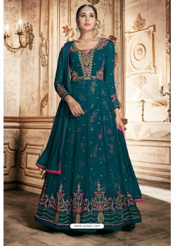 Teal Georgette Designer Anarkali Suit