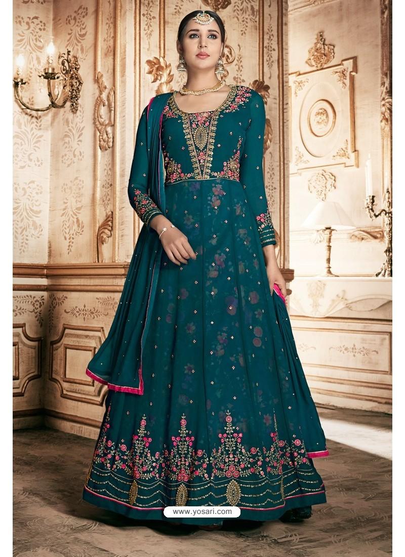 Teal Georgette Designer Anarkali Suit