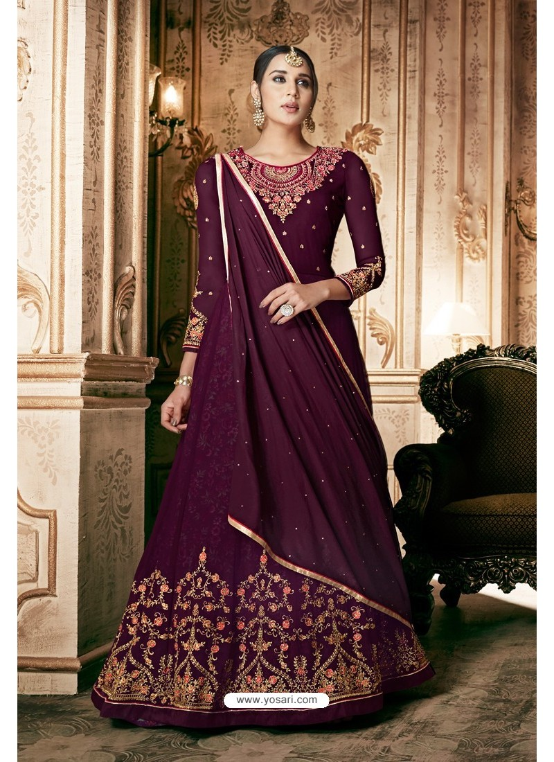 Purple Georgette Designer Anarkali Suit