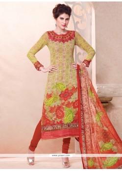Resplendent Digital Print Work Multi Colour Georgette Churidar Designer Suit