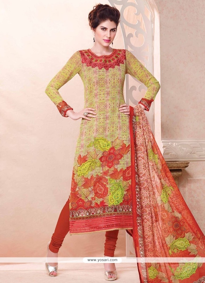 Resplendent Digital Print Work Multi Colour Georgette Churidar Designer Suit