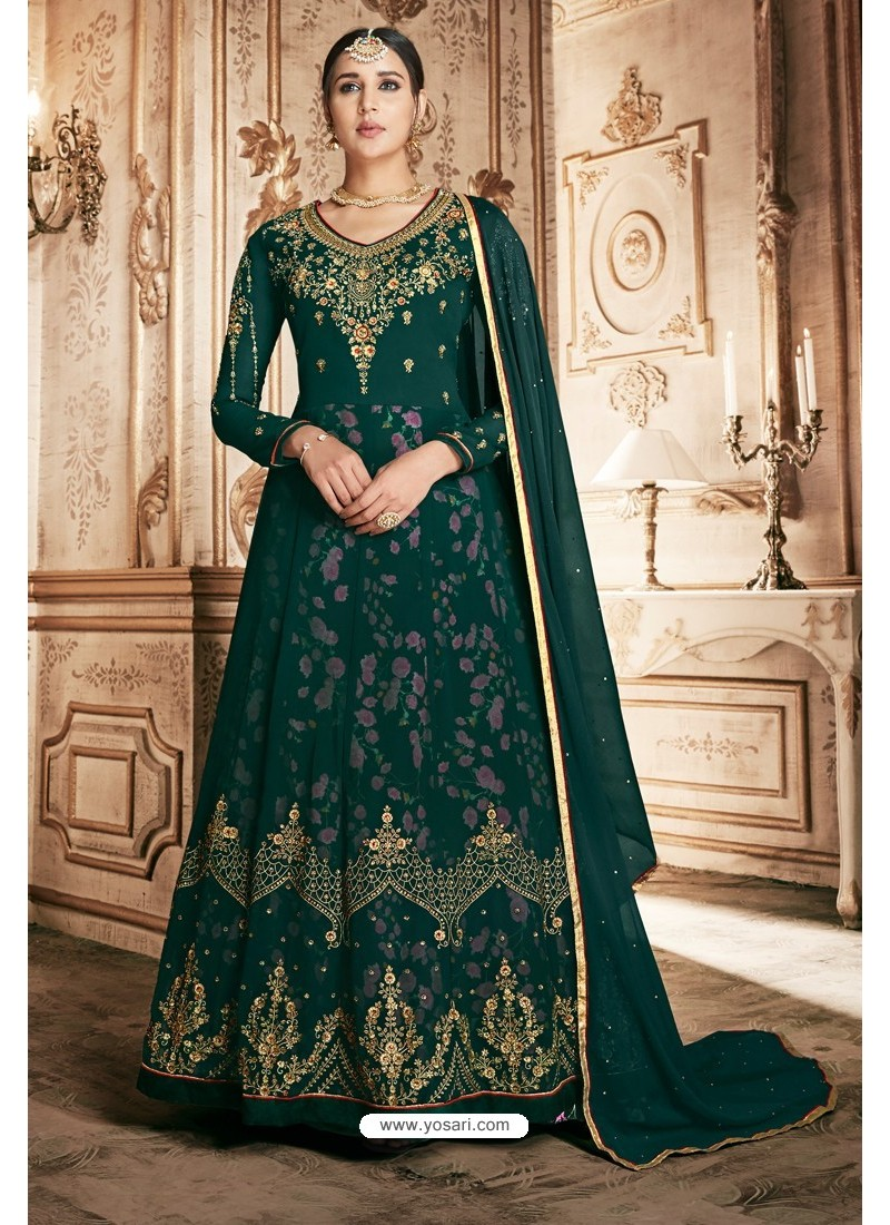 Dark Green Georgette Designer Anarkali Suit
