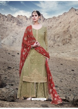 Olive Green Georgette Designer Palazzo Suit