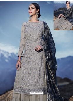 Grey Georgette Designer Palazzo Suit