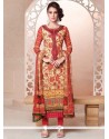 Phenomenal Cream Embroidered Work Georgette Churidar Salwar Suit