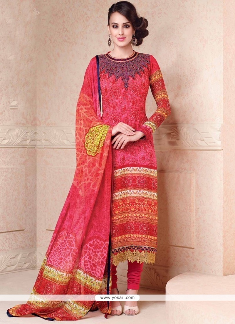 Whimsical Hot Pink Lace Work Churidar Salwar Suit
