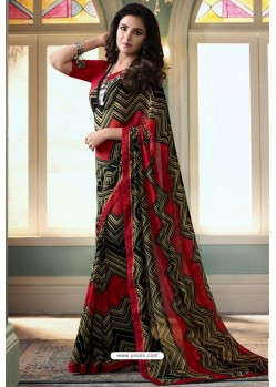 Multi Colour Printed Georgette Saree
