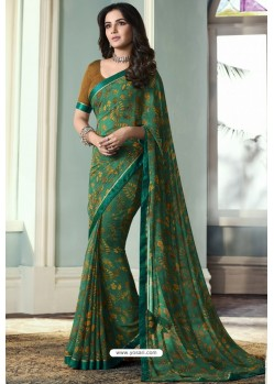 Teal Printed Georgette Saree