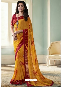 Fantastic Yellow Printed Georgette Saree