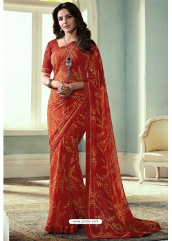 Orange Printed Georgette Saree
