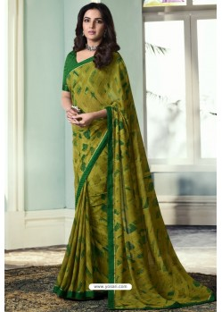 Stylish Green Printed Georgette Saree